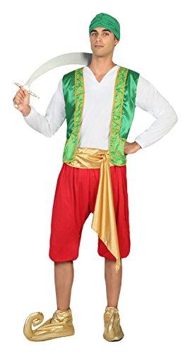 Atosa- Disfraz hombre árabe, Color verde y rojo, M-L (17347)