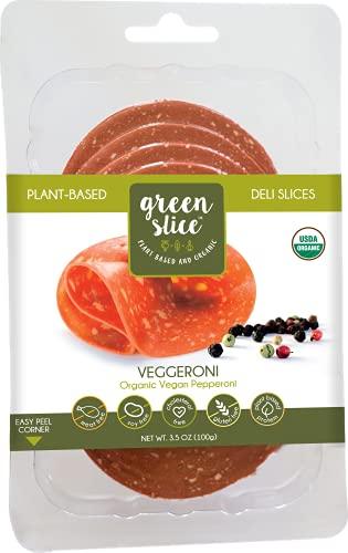 Green Slice Veggeroni Organic Plant-Based Deli Slices, Soy-Free, Gluten-Free Vegan Pepperoni 10 x 3.5 oz