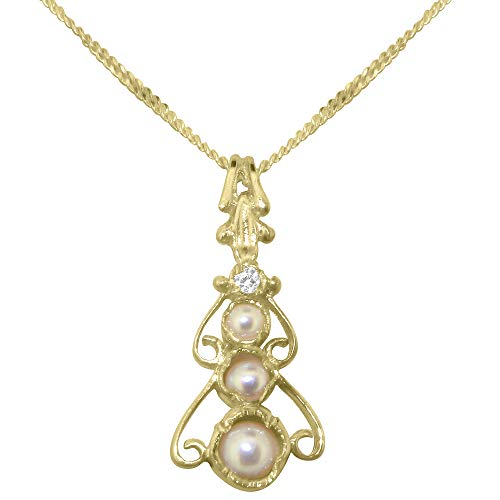 9ct Gold Cultured Pearl & Cubic Zirconia Womens Bohemian Pendant & Chain Necklace - Chain length 20