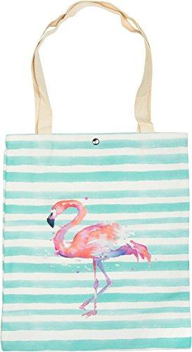 styleBREAKER Stofftasche mit Streifen und Flamingo Aufdruck, Druckknopf Verschluss, Tragetasche, Maritime Einkaufstasche, Tasche, Unisex 02012192, Farbe:Mint-Weiß