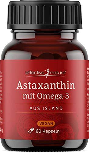 effective nature Astaxanthin & DHA - Hochdosiert & Vegan | Natürliches Astaxanthin aus ISLAND | Laborgeprüftes Premiumprodukt | Mit natürlichem Vitamin E | 60 Kapseln