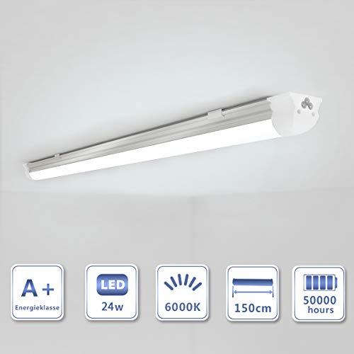 OUBO 150cm LED Leuchtstoffröhre komplett Set mit Fassung kaltweiss 6000K 24W 2400lm Lichtleiste Unterbauleuchte Küchenlampe Schrankleuchte Deckenleuchte led strip milchige Abdeckung