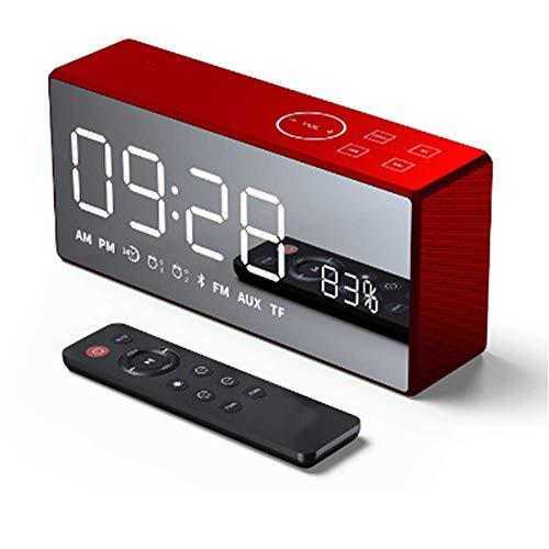 DBGS Digitale mini-wekker met USB-aansluiting, subwoofer stereo met afstandsbediening, draadloze Bluetooth luidspreker, FM-radio voor slaapkamer, woonkamer