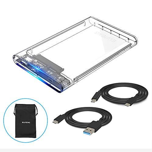"""ELUTENG Case Esterno Disco Rigido 2.5 USB Type C 3.1 Gen 1 Supportato UASP 6Gbps Hard Disk Caso Box per 2.5"""" HDD SSD SATA I/II/III 7mm e 9,5mm Tool Free, Compatibile con Mac OS/Windows/Linux"""