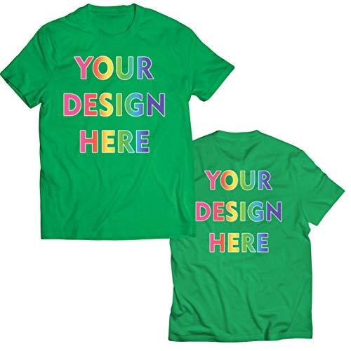 lepni.me Camisetas Hombre Impresión Personalizada de 2 Caras en el Frente y en la Parte Posterior, Texto Personalizado o Diseño de su Propia Imagen (XX-Large Verde Multicolor)