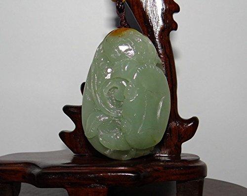 JL 4,8 cm Chine Certifié Nature néphrite Hetian Jade Fortune Crabe Collier Pendentifs