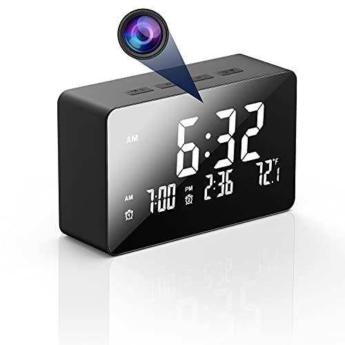 Hidden Camera Clock, HJSHI 1080p Wireless WiFi Spy Camera Nanny Cam with Night Vision, Motion Detection, Room Thermometer, Camera Alarm Clock for Home Surveillance
