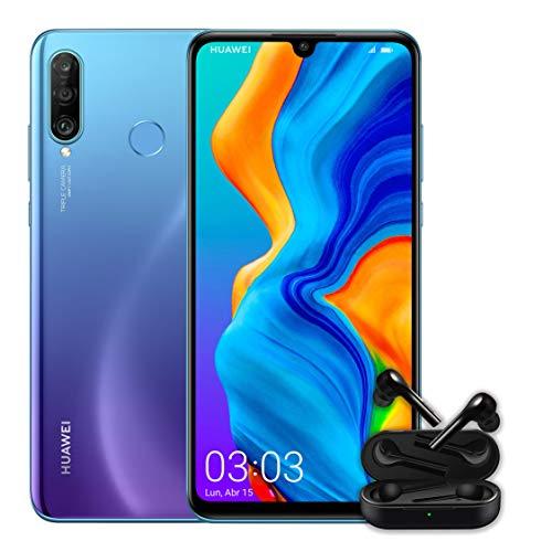 Huawei P30 Lite + Free Buds -Smartphone de 6.15', WiFi, Kirin 710, RAM de 4 GB, Memoria Interna de 128 GB, Cámara de 48 + 2 + 8 MP, Android 9, Azul