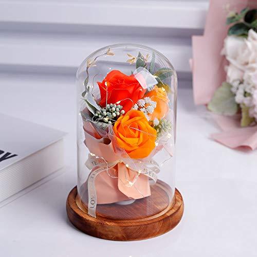 shirylzee Encantada Rosa La Bella y La Bestia Rosas Artificiales con luz LED Base de Madera Regalo para día de San Valentín Día de la Madre de cumpleaños de Boda de Aniversario decoración