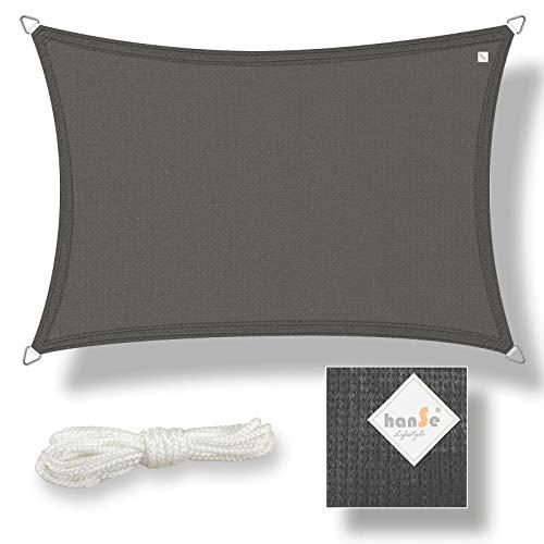 hanSe® Marken Sonnensegel Sonnenschutz Wetterschutz Wetterbeständig HDPE Gewebe UV-Schutz Rechteck 3,5x4,5 m Graphit