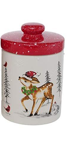 Keramik Vorratsdose Keksdose Weihnachten rot weiß Reh H16cm D10,5cm