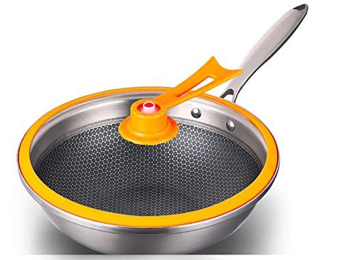 304 Roestvrij stalen Wok anti-aanbakplaat, rookvrij kookpot Gas Cooker pan met gehard glas Cover en anti-slip koud handvat, gemakkelijk schoon te maken en duurzaam