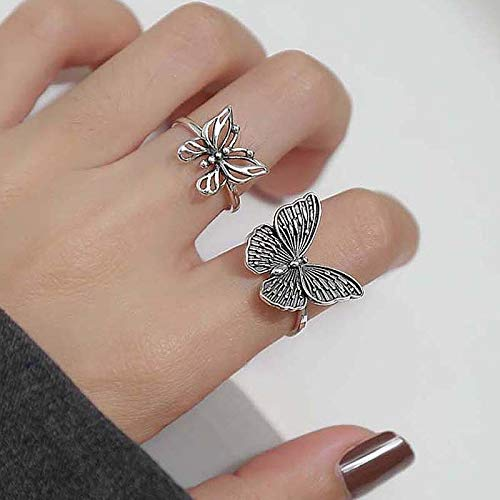 Open Rings for Women Harajuku Gothic Vintage Hollow Butterfly Rings for Women Adjustable Rings Wedding Party Statement Gift
