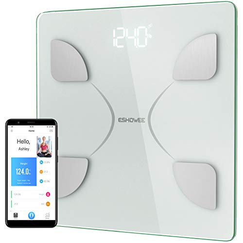 Bluetooth Body Fat Scale,Sawpy Bluetooth Smart BMI Scale Wireless Digital Weight Scale, Body Composition Analyzer with Smartphone App for Body Weight, Fat, Water, Bone Mass, BMR, Muscle Mass (White)