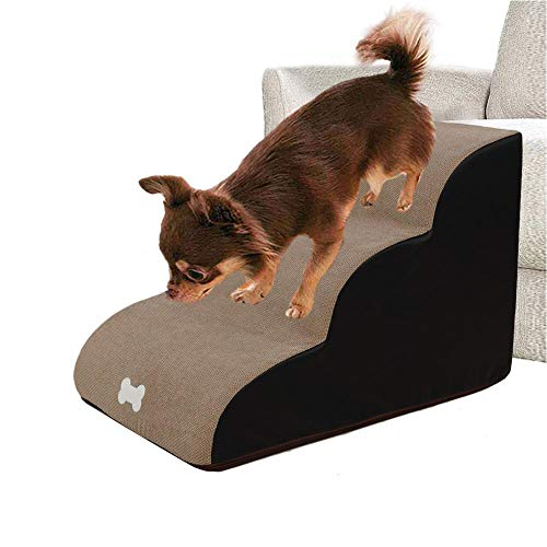 N/K 3 Steps Pet Stairs,Dog Stairs Ladder,High Density Foam Pet Stairs Step Sofa Bed Ladder Dog Access Steps Lightweight and Portable Ladder for Dogs Cats Car Ramp Bed Boat