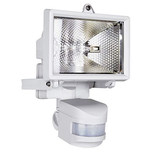 Smartwares ES120W Halogenstrahler mit 110° Bewegungsmelder, 120 W (2250 Lumen), spritzwassergeschützt IP44 [Energieklasse C]