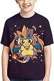 AQEWXBB Camisetas Pikachu, manga corta, diseño de Pikachu, lindo dibujos animados, camisas sueltas y cómodas, regalos para niños (Charizard-Pikachu, 140)