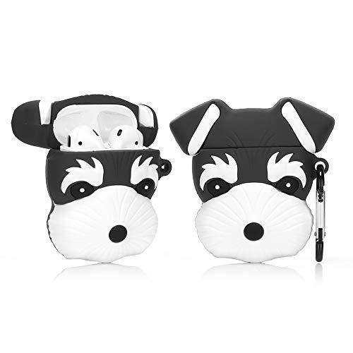 ZAHIUS Airpods Carcasa Funda de Silicona Compatible con Airpods de Apple 1 y 2 [Animal Doméstico Lindo 3D Serie] (Schnauzer Negro)