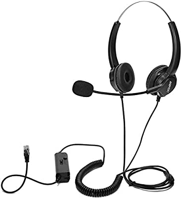 AGPtEK Hands-free Call Center Noise Cancelling Corded Binaural Headset Headphone with Mic and 4-Pin RJ9 Crystal Head for Desk Phone - Telephone Counseling Services, Insurance, Hospitals, Banks, Enterprises etc …