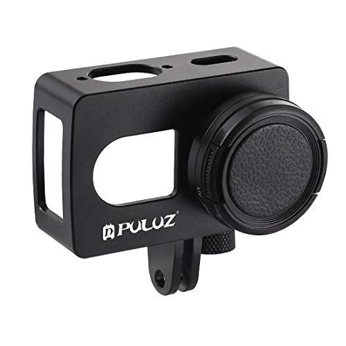 YOOW Kameratasche New Gehuseschale CNC-Aluminiumlegierung Schutzkäfig mit 37mm UV-Objektiv for Xiaomi Xiaoyi II 4K-Action-Kamera (Schwarz) (Color : Black)