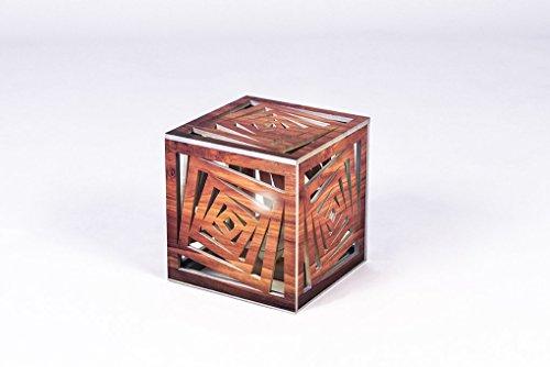 CVC- Lampada decorativa, cubo geometrico, lavorazione legno. Dimensione 18,5x16,5x18,5. Made in Italy
