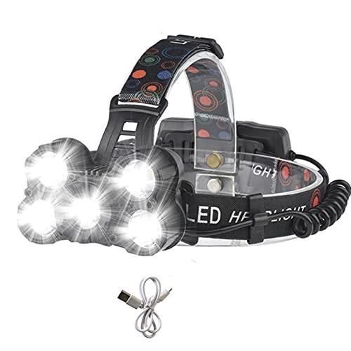 JZlamp Linterna Super Bright 5 T6 LED 8000 LM 8000 LM con 5 Modos, Faro a Prueba de Agua del Faro alejar el Faro con 3 * 18650 Batería, para Montar al Aire Libre, Acampar