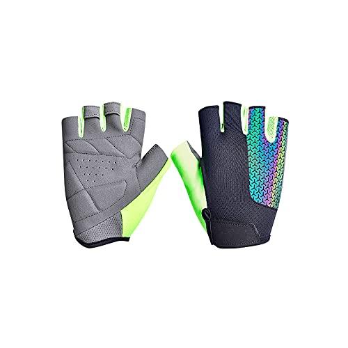 Tela de red transpirable + guantes de ciclismo de cuero cómodos guantes térmicos universales de medio dedo, guantes deportivos para ciclista al aire libre