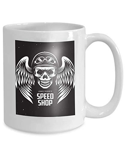 Coffee Mug Tea Cupvintage moto negozio di velocità etichetta biker emblema casco cranio monocromatico 110z