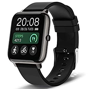 Smart Watch, Popglory Smartwatch with Blood Pressure, Blood Oxygen Monitor, Fitness Tracker with Heart Rate Monitor, Full Touch Fitness Watch for Android & iOS for Men Women (Black)