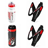 Raceone.it - Kit Race Trio X5 Gel (4 PCS): 2 Porta Bidon X5 + Bidon de Ciclismo XR1 + Toolbox PR1 Bici Carrera de Ruta/Bicicleta de Montaña MTB/Gravel Bike. Color: Negro/Blanco 100% Made IN Italy