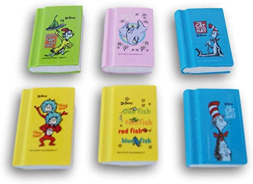 Dr. Seuss Book Erasers - Mini Books (Cat in The Hat, Green Eggs & Ham,...