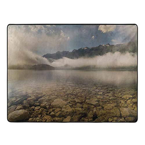 Nature Area Rugs Alpine Lake with Stones Rocks in Crystal Water with Misty Fogy Clouds Image Home Decor Rugs 3' x 5' Grey and White