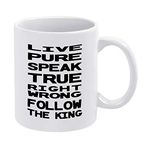 Taza de café divertida, con texto en inglés 'Live Pure Family Rules' (12 onzas)