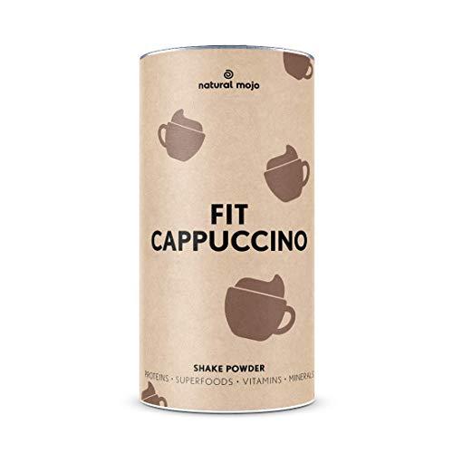 Natural Mojo Fit Cappuccino – Fit Shake (500 g) – Shake mit wertvollen Superfoods – leckerer Drink aus leicht löslichem Eiweißpulver – mit Cappuccino-Geschmack