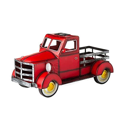Camioneta solar de estilo retro, cuarta parte de la vendimia de julio plantador de camiones de metal, adornos de jardín carretilla flor de camiones con cartuchos de carnicería jardín de jardín decorac