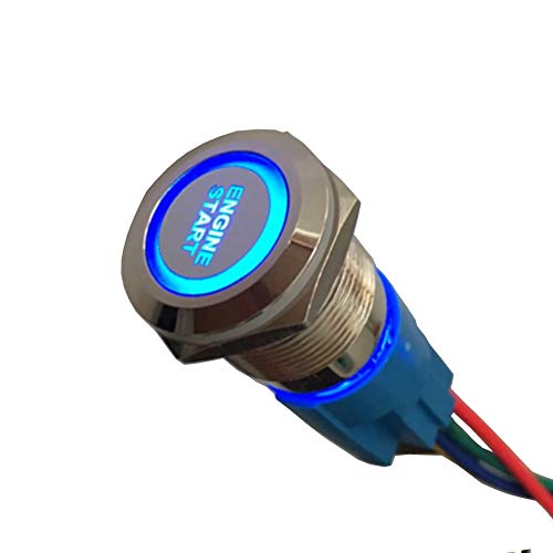 Etopars Momentary 12V 5A Car Auto Blue LED Light Lamp Headlight Push Button Stainless Steel Metal Toggle Switch Socket Plug 19mm Engine Start