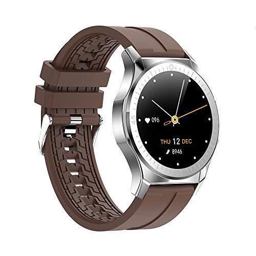 QLKJ Reloj inteligente de gama alta Fitness Trackers Seguidores de actividad Monitor de ritmo cardíaco impermeable Ip67 Ronda Fitness Watch Podómetro cronómetro Relojes deportivos, Marrón