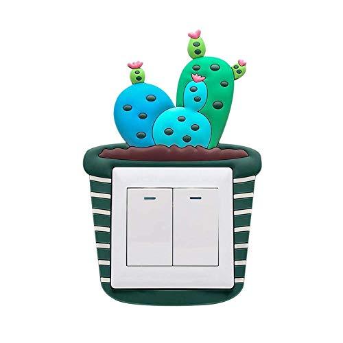 Yongkanghappy Nette Cactus Luminous PVC Wand Licht Schalter Aufkleber Abdeckung Hause Dekoration Aufkleber 1# 1#