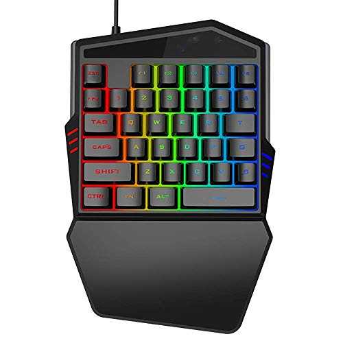 One-hand mechanical gaming keyboard RGB LED backlight, 35-key half keyboard, ergonomics, wrist rest, USB cable, color mouse, suitable for Fps games/APEX/CSGO/notebook/PUBG Mac/Windows (black)