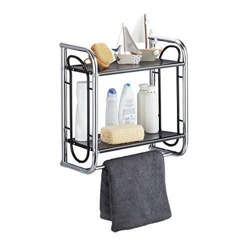 Relaxdays, Chrom/schwarz Wandregal Badezimmer, Badregal mit Handtuchstange, Hängeregal mit 2 Ablagen, HBT 45,5x46x22 cm