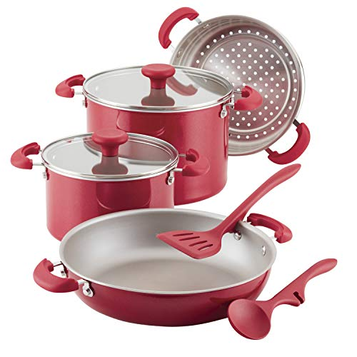 Rachael Ray 8-Piece Create Delicious Stackable Nonstick Cookware Set, Red Shimmer