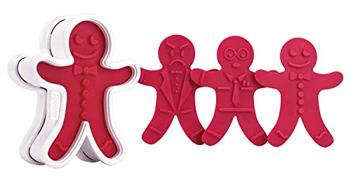 Tovolo Gingerbread Boys Templates Reverse, Dishwasher Safe, Set of 6 Cookie Stamps with Cutter