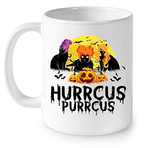 N\A Hurrcus Purrcus Cat Hocus Pocus Witches Sanderson Sisters Disfraz de Halloween Taza de cermica Divertida Tazas de caf grficas Tazas Blancas Tapas de t Novedad Personalizada 11 oz