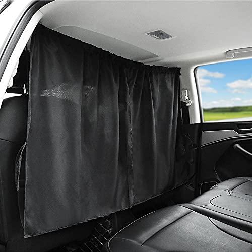 Car Divider Curtains Sun Shade-Privacy Travel Nap Night Car Camping Detachable Simple Curtain(Black, Back Seat-1pcs)
