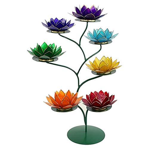 Présentoir porte-bougie vert 57 x 35 cm avec 7 porte-bougies 13,5 cm, bords argentés, coquillages Capiz 7 chakras arc-en-ciel, rouge, orange, jaune, vert, bleu, indigo, violet 7AR+ESPOV