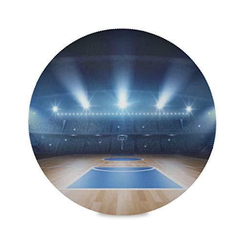Lot de 4 tapis ronds pour table silencieux New Indoor Basketball Factory Napperons résistants à la chaleur Napperons de couleur 15,4 pouces faciles à nettoyer pour la cuisine Table à manger Fête de v