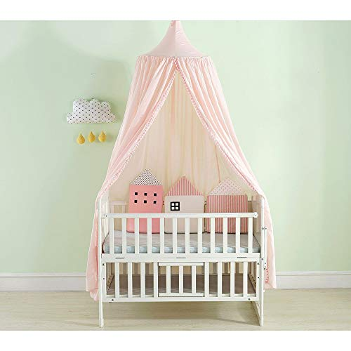 Nordic Stil Prinzessin Kinder Baby Bett Zimmer Baldachin Moskito Net Baumwolle Vorhang Bettwäsche Dome Zelt Mädchen Zimmer Dekor,pink