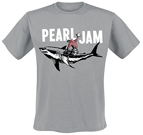 Pearl Jam Shark Cowboy Hombre Camiseta Gris XL, 100% algodón, Regular