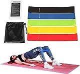 SlickMart 5 PCS  Bandas Elásticas Fitness, Bandas de Resistencia con Guía de Ejercicios y Bolsa Almacenamiento, Cintas Elásticas para Yoga Pilates Crossfit
