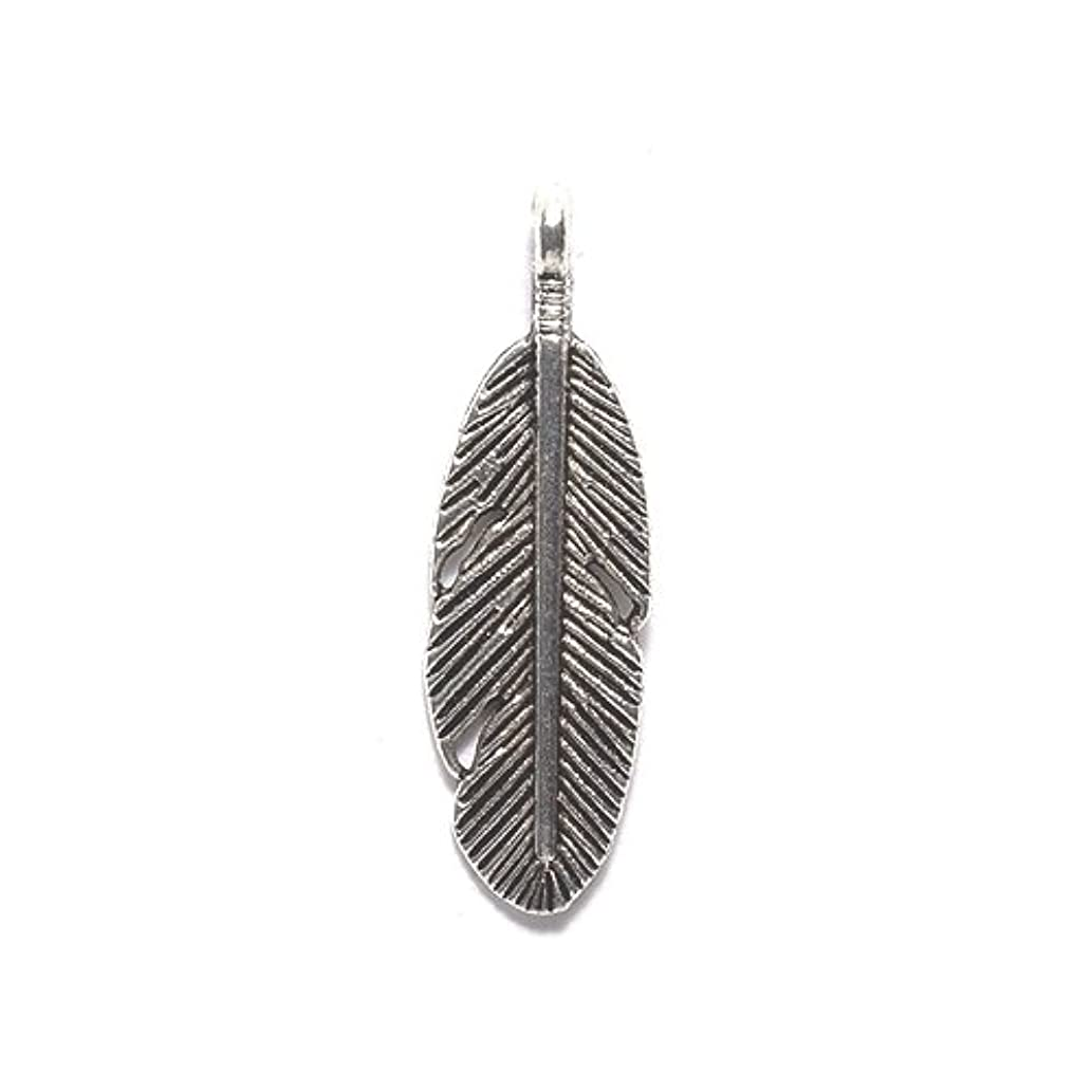 Shipwreck Beads ME5620-S Zinc Alloy Feather Charm, 9 by 29mm, Silver, 60-Pack